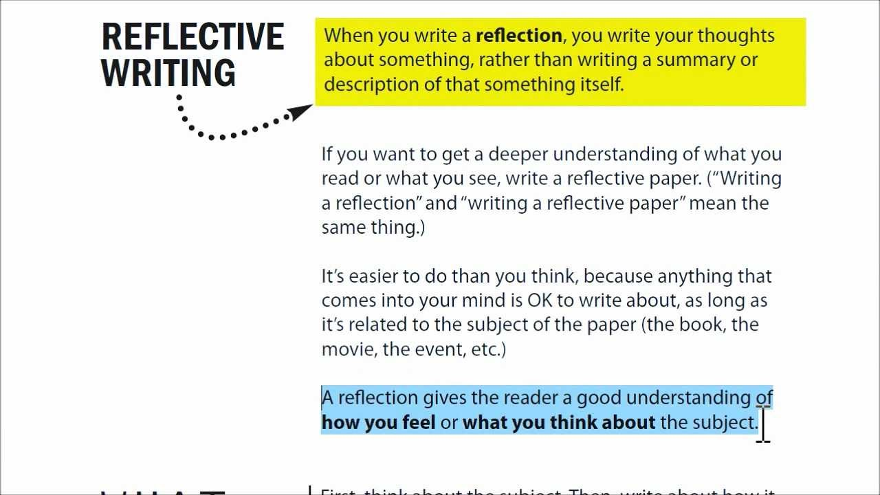 HOW TO Create A REFLECTIVE ESSAY